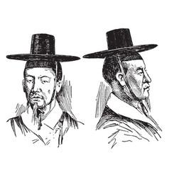 Korean hats vintage engraving vector