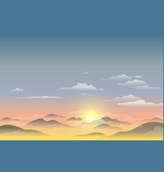 landscape view with sunset sunrise the sky vector image
