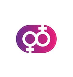 Lesbian couple symbol icon vector