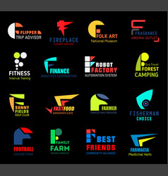 Letter f icons or symbols for business isolated vector