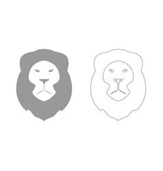 lion head the grey set icon vector image