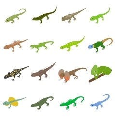 Lizard icons set isometric 3d style vector