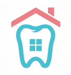 logo combination house and tooth vector image