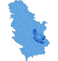Map of serbia subdivision nisava district vector