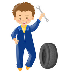 Mechanic with tool and tyre vector