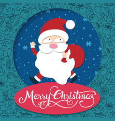 merry christmas handwritten typography with santa vector image