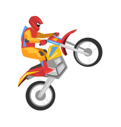 motorcyclist driving motorcycle motocross racing vector image