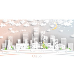 oslo norway city skyline in paper cut style vector image