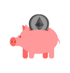 pig piggy bank and etherium financial vector image