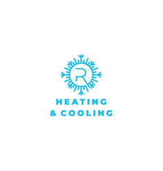 R heating and cooling logo design vector