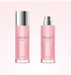 realistic detailed 3d blank perfume bottle pink vector image