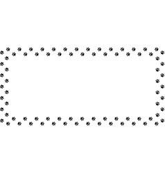 Rectangle frame made of black animal paw prints vector