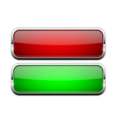 Red and green glass buttons shiny rectangle 3d vector