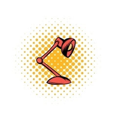Red table lamp comics icon vector image