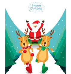 Reindeer Running With Santa Claus vector image