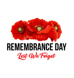 Remembrance day lest we forget poppy icons vector