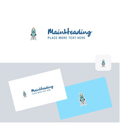 rocket logotype with business card template vector image