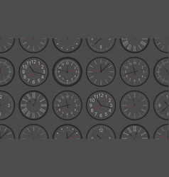 seamless pattern with black round wall clock vector image