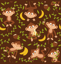 Seamless pattern with monkey on brown background vector