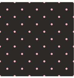 Seamless pattern with pink polka dots on black vector image