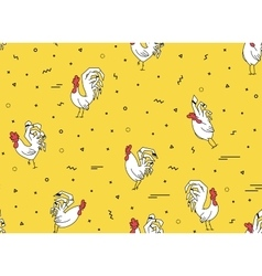 Seamless pattern with roosters on a yellow vector