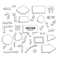 Set hand drawn doodle arrows pen design vector
