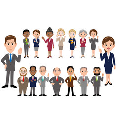 set of office workers in different poses vector image
