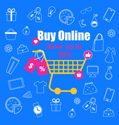 shopping trolley with sale tags on blue background vector image