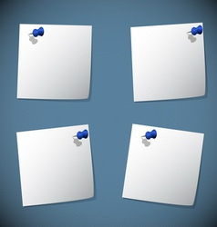 Square note papers with blue pin vector image