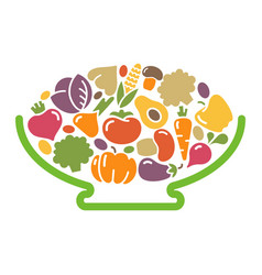 Stylized image of a bowl of vegetables vector