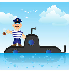 submarine with captain vector image