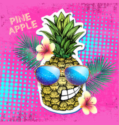 Summer disco party poster design with pineapple vector