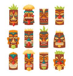 Tiki mask tribal set hawaiian totem or african vector