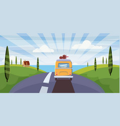 travel van camper bus on road goes to sea vector image