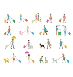 Travelers with suitcases on white background vector