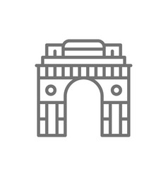 Triumphal arch gate india to new delhi line vector