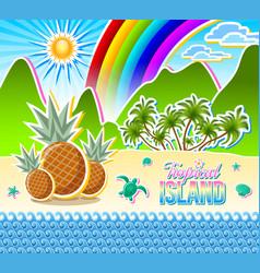 tropical island seashore scenery sandy beach full vector image