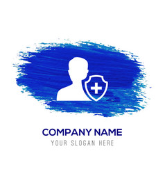 User insurance icon - blue watercolor background vector