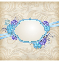 Vintage background with label and blue flowers vector