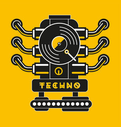 vinyl record with car engine techno and vector image