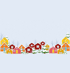 winter town village countryside landscape snowing vector image
