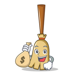 with money bag broom character cartoon style vector image