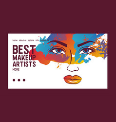 woman face banner web beauty vector image