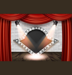 Wooden stage with red curtain and white brick vector