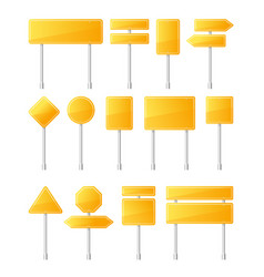 yellow road signs vector image