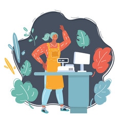 Young woman cashier on dark vector