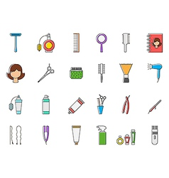 Barbershop colorful icons set vector image vector image