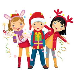 childrens christmas party a surprise vector image vector image