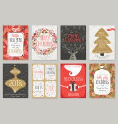 christmas hand drawn card set christmas hand vector image vector image