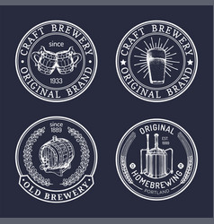 old brewery logos set kraft beer retro signs or vector image